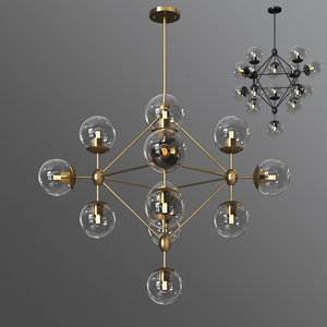 3D model dortch 15-light sputnik chandelier