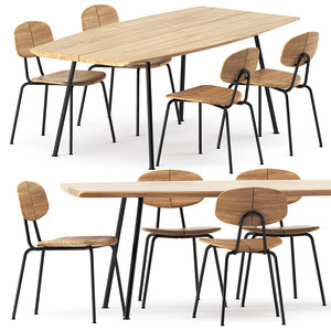 3D model agave table chair