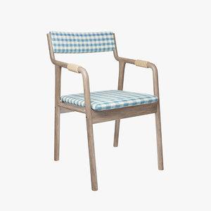 3D retro armrests chair model