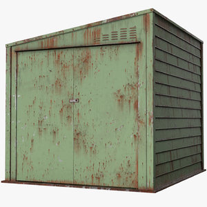old rusty metal shed 3D model