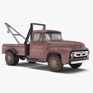 old tow truck 3D model
