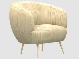 3D souffle chair ruched leather