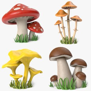 3D cartoon mushroom toadstool chanterelle