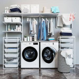 3D model washing machine laundry set