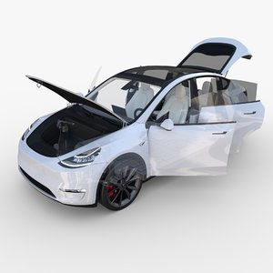 3D model tesla y awd chassis