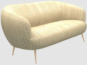 souffle settee ruched leather 3D