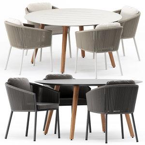 3D omer armchair dining table