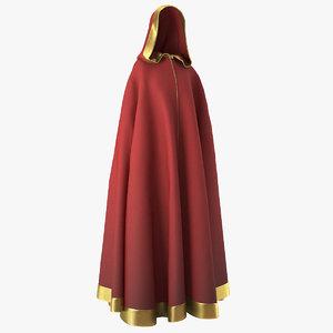 medieval hooded cloak 3D model