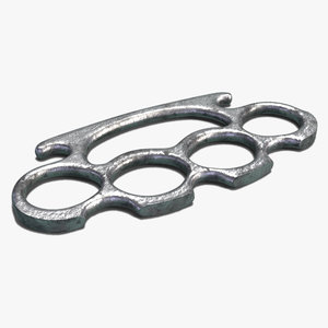 3D brass knuckles pbr steel model
