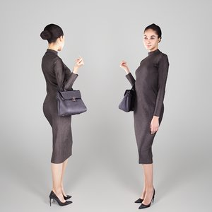 3D young woman character clothes