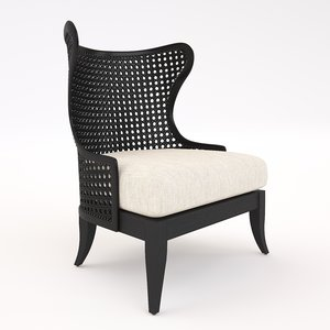 levine wing chair 3D