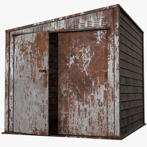 old rusty metal shed model