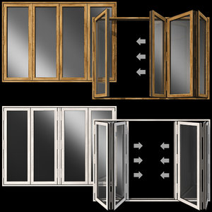 3D folding stained glass wooden doors