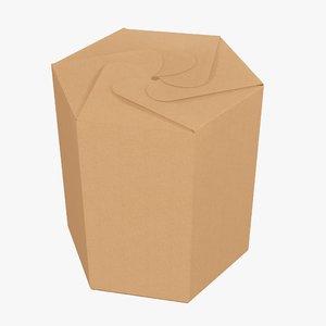 3D model tube cardboard hexagonal
