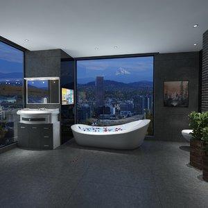 3D realistic bathroom scene model