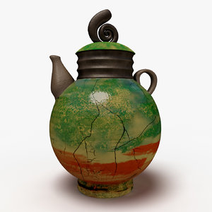 3D raku teapot model