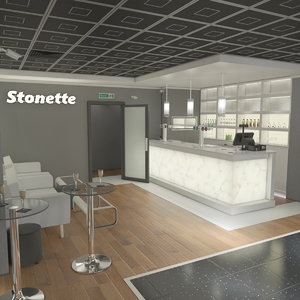 3D stonette1 nightclub interior scene model