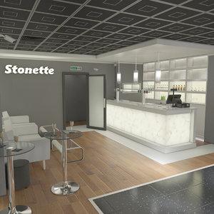 3D stonette1 nightclub interior scene model