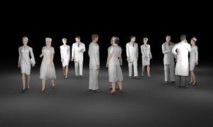 3D model people occupation doctor nurse