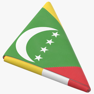 3D model flag folded triangle comoros