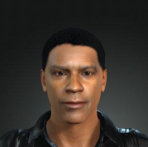 denzel washington character design 3D model