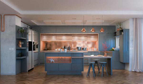 3d Modern Design Kitchen Copper Model Turbosquid 1601445