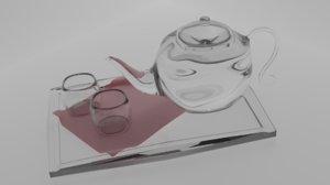 3D glass tea set