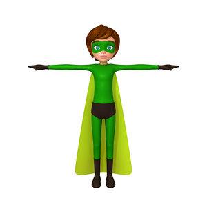 3D model superhero boy cartoon