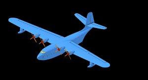 3D martin jrm-3 mars flying