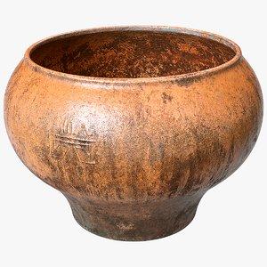 3D model scanned clay pot