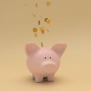 3D moneybox pig model