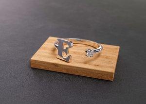 jewellery ring letter e 3D model