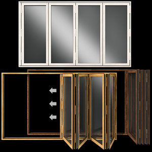 3D model folding stained glass wooden doors