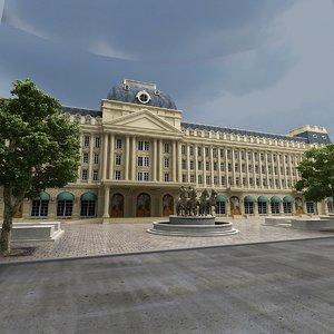 3D model european palace statue trees