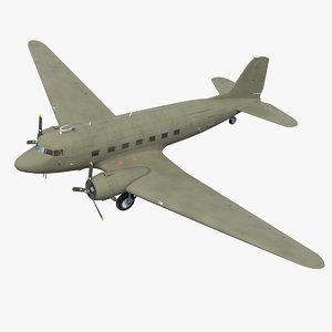 vintage military cargo plane 3D model