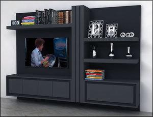 3D modern tv unit cabinet