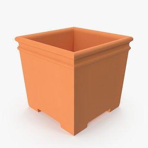 3D model terra cotta planter cube
