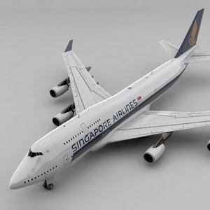 boeing 747 singapore airlines 3D model