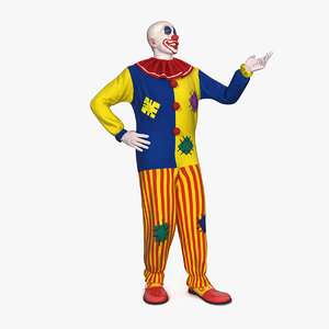 3D model bald clown rigged