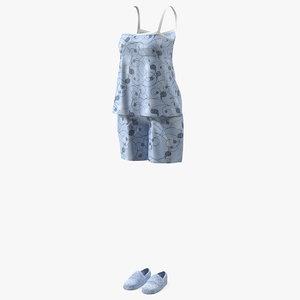 3D women sleeveless pijama model