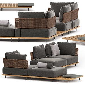 3D model quadrado outdoor sofa