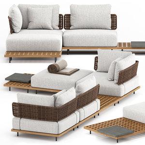 3D quadrado outdoor sofa