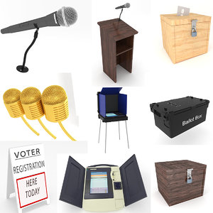 election components podium microphone 3D