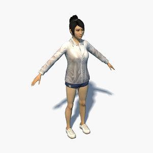 3D model wet clothing women