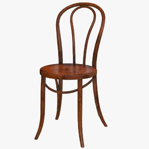 3D model old french bistro chair