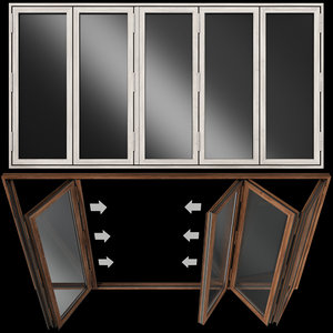 3D folding stained glass wooden doors model