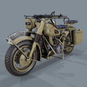 3D model german motorcycle ww2 modeled