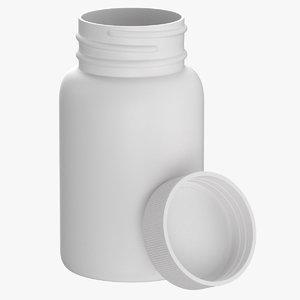 3D model plastic bottle pharma 75ml