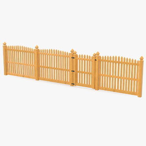 traditional fencing palisade pointed 3D