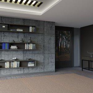 3D living room scene model